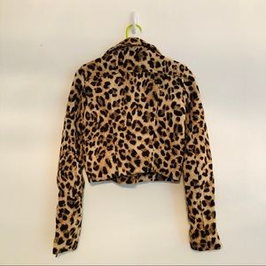 H&M Jackets & Coats - H&M • Cropped Zippered Jacket • Leopard